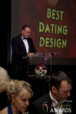 Nick Tsinonis announcing the Best Dating Design at the 2013 iDateAwards Ceremony in Las Vegas held in Las Vegas